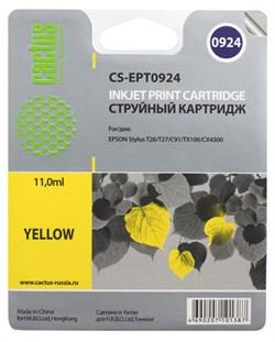 (3330273) Картридж струйный CACTUS CS-EPT0924 желтый для принтеров Epson Stylus C91/  CX4300/  T26/  T27/  TX106/  TX109/  TX117/  TX119, 5.5 мл - фото 11675