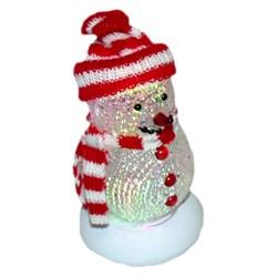 (81222) Снеговик Orient 319B, красные шарф и шапочка, подсветка 7 цветов, c музыкой детства, питание от USB/встроенная батарейка - фото 12475