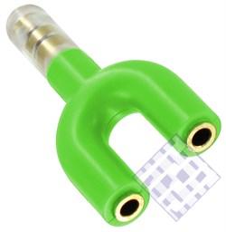 (1009635) Разветвитель для наушников на два гнезда (зеленый) техупаковка - фото 7202