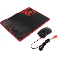 (1008837) Набор Мышь + коврик A4 Bloody A9081 черный оптическая (4000dpi) USB2.0 игровая (8but) - фото 7354