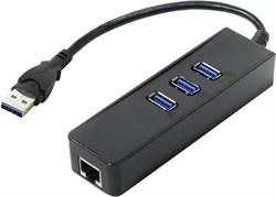 (195202) Концентратор Orient JK-340, HUB 3xUSB3.0 + Gigabit Ethernet Adapter, черный - фото 7726