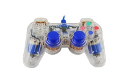 (1007260) Проводной USB геймпад Oxion OGP02BL с вибрацией и LED подсветкой, 1.5м, синий (OGP02BL) - фото 8585
