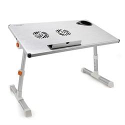 """(1006976) Столик для ноутбука CROWN CMLS-101 (silver) ( 21"""", активное охлаждение, алюминий, регулировка высота и наклона, размеры панели (Д*Ш): 50*28см, максимальная высота:  до 32см) - фото 8768"""
