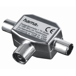 (3331380) Антенный разветвитель (КРАБ), 1 (f) -> 2 (m), коаксиальный штекер, металл, Hama     [H-42998] - фото 9643