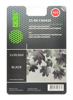 (1002389) Заправка для перезаправляемых картриджей CACTUS CS-RK-CAN425 для Canon PIXMA iP4840, черная, 2x30мл - фото 9967