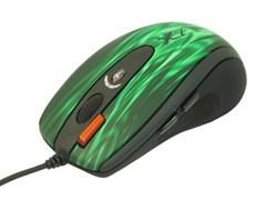 (1005123) Мышь A4 XL-750BK зеленый/черный лазерная (3600dpi) USB2.0 игровая (6but)