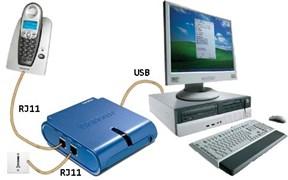 (D162311) TRENDnet TVP-SP5G Адаптер для телефона VoIP USB (для SKYPE), 2xRJ-11, 1xUSB