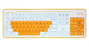 """(1110275) CBR Simple Клавиатура """"S8"""" White, 86+20 доп. кл.(смайлы на цифровом блоке), USB, S8 White"""