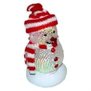 (81222) Снеговик Orient 319B, красные шарф и шапочка, подсветка 7 цветов, c музыкой детства, питание от USB/встроенная батарейка