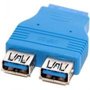 (1006536) Переходник 5bites UA-3004 USB 3.0 2*AF / 20PIN FEMALE