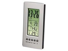 (1001396) Термометр настольный, термометр/ часы/ будильник, серебристый/ черный, Hama     [Ox&]