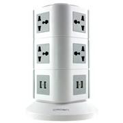 (1006163) Универсальный сетевой фильтр с USB CROWN CMPS-20 ( 10 универсальных розеток, 4 порта USB 2.1А, защита от КЗ, перегрузки, max 16A)