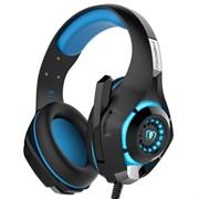 (1011230) Гарнитура игровая CROWN CMGH-102T Black&blue (Подключение USB, встроенная аудио карта, Частотный диапазон: 20Гц-20,000 Гц ,Кабель 2.1м,Размер D 250мм)