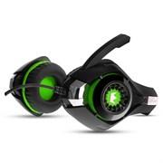 (1011231) Гарнитура игровая CROWN CMGH-102T Black&green (Подключение USB, встроенная аудио карта, Частотный диапазон: 20Гц-20,000 Гц ,Кабель 2.1м,Размер D 250мм)