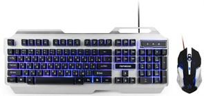 """(1011500) Комплект кл-ра+мышь игровой Гарнизон GKS-510G, металл, подсветка,код """"Survarium"""", черный/серый, 2000 DPI,  антифантомные  клавиши, 12 дополнительных функций"""