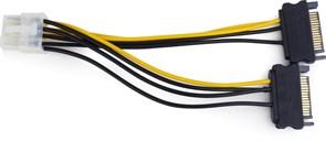 (1011121) Cablexpert Разветвитель питания 2xSATA->PCI-Express 8pin, для подключения в/к PCI-Е (8pin) к б/п ATX (CC-PSU-83)
