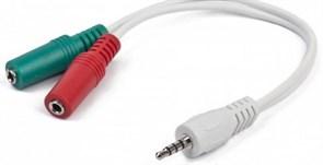(1011466) Кабель аудио сигнала Cablexpert CCA-417W, джек3.5 4pin->джек3.5 наушники + 3.5 микрофон, длина 20с, белый