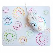 (110354) Мышь CBR Rainbow + коврик, 3 кнопоки, USB, Белая с рисунком