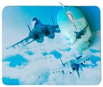 (1006246) Мышь сувенирная+ коврик CBR Aero Battle,  1200 dpi, рисунок, USB, Aero Battle