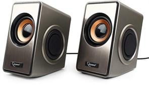 (1011492) Акустич. система 2.0 Gembird SPK-400, пассивные излучатели, серебристый, 6 Вт, регулятор громкости, USB-питание
