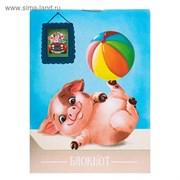блокнот А6 24л на скрепке Calligrata Свинки на вечеринке карт хром   3804032