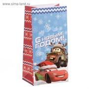 """Пакет подарочный без ручек """"С Новым годом!"""", Тачки, 10 х 19,5 х 7 см"""