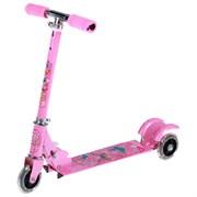 """(1015434) Самокат стальной """"Вперед к мечте"""" ОТ-508, три колеса PVC d= 100 мм светящиеся, цвет розовый   169381"""