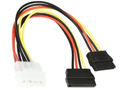 (1012029) Кабель питания SATA Cablexpert CC-SATA-PSY, 15см, molex 4pin/2x sata15pin, на 2 устр., пакет