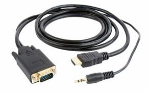 (1011997) Кабель HDMI-VGA Cablexpert A-HDMI-VGA-03-10M, 19M/15M + 3.5Jack, 10м, черный, позол.разъемы, пакет