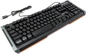 (1012137) Клавиатура Oklick 717G BLACK DEATH черный/серый USB Multimedia Gamer LED