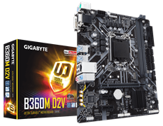 (1012688) Материнская плата Gigabyte B360M D2V Soc-1151v2 Intel B360 2xDDR4 mATX AC`97 8ch(7.1) GbLAN+VGA+DVI