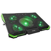 "(1013123) Подставка для ноутбука CROWN CMLS-k332 GREEN ( до 19"" Размер 410*292*29мм , кулеры: D140mm*1+ D80mm*4, зелёная led подсветка, регулятор скорости, 7 уровней наклона)"