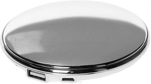 (1013215) Портативное зарядное устройство Qumo PowerAid Charm, литий-полимерный, 3000 мА-ч, 1 USB 1A, вход 1А, форма пудренницы с зеркалом