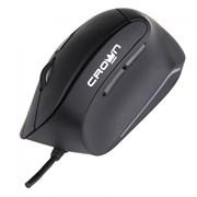 (1013313) Мышь проводная USB CROWN CMM-960 Health (Black, вертикальная (профилактика туннельного синдрома) , soft-touch; 6 кнопок;1000/1600 DPI; LED индикатор; длина провода: 1.8м; USB ,Plug & Play)