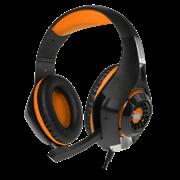 (1013312) Гарнитура игровая CROWN CMGH-101T Black&orange (Подключение jack 3.5мм 4pin+ адаптер 2*jack spk+mic,Частотный диапазон: 20Гц-20,000 Гц ,Кабель 2.1м,Размер D 250мм, регулировка громкости, микрофон на ножке)