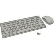 (1013390) Комплект мини клавиатура+мышь беспроводные Gembird KBS-7001, 2.4ГГц, серебристый/белый, ноутбучный механизм клавиш, 78кл+3кн, 1000 DPI, FN клавиши, батарейки в комплекте