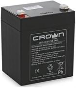 (1014021) Аккумулятор CROWN СВТ-12-5  (Cвинцово-кислотный, напряжение 12В, ёмкость 5 А\Ч, размеры (мм)  90х70х101, вес 1,75 кг, материал корпуса - ABS-пластик, тип клеммы - F2 (Т2), срок службы 6 лет)