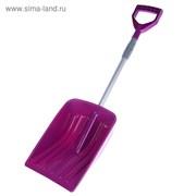 Лопата автомобильная пластиковая, ковш 340 × 245 мм, длина 1,1 м, телескопический черенок, розовая