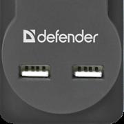 (211813)  Сетевой фильтр Defender DFS 755 5 розеток, 5 м, 2 USB 2.1A (99755)