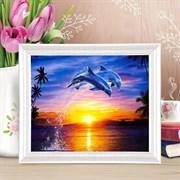 """(1015936) Роспись  по номерам """"Дельфины""""с красками 14шт по3мл+ кисти 30*40 см 1063951"""