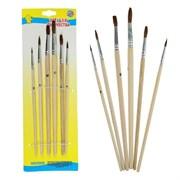 (1016795) Набор кистей, пони, круглые, 6 штук: №2, 4, 6, 8, 10, 12, с деревянными ручками, на блистере 1827411