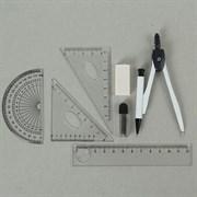 (1016945) Циркуль металлический в пластиковом пенале, с механическим карандашом, грифелями, ластиком, линейкой, 2 треугольниками и транспортиром, МИКС 1723680