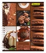(1016663) Тетрадь Silwerhof 810022-75 80л. клет. A5 Шоколад 4диз. мел.карт. двойн.уф.лак гребень