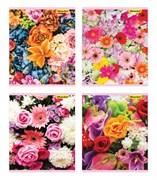 (1016678) Тетрадь Silwerhof 812017-55 48л. клет. A5 Букет цветов 4диз. картон вод.лак скрепка