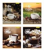 (1016679) Тетрадь Silwerhof 812018-55 48л. клет. A5 Кофе. шоколад 4диз. картон вод.лак скрепка