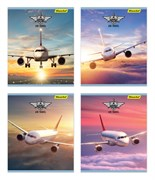 (1016689) Тетрадь Silwerhof 812029-55 48л. клет. A5 Самолеты 4диз. картон двойн.уф.лак скрепка
