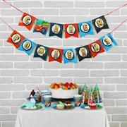 """(1018761) Набор бумажной посуды """"С днем рождения"""", крутые тачки, 6 тарелок, 6 стак., 6 колп., 1 гирл. 2865989"""