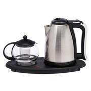 (1018971) Набор чайный LuazON LSK-1808, 1500 Вт, 1.8 л, металл, заварник стекло 0.75 л, серебристый 3836620