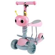 (1019237) Самокат стальной 3 в 1, колеса световые PU d=110х50, 80х45 мм, ABEC 7, цвет розовый   4013644