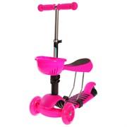 (1019240) Самокат-каталка 3 в 1, колеса световые PU 120/100 мм,ABEС 7, цвет розовый 2884997